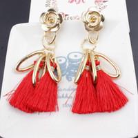 Wholesale hanging stud - 6 colors Stylish Long Tassel Hanging Earrings for Women Black Retro Flower Dangle Drop Earring Fashion Jewelry