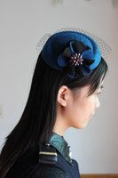 Wholesale Decoration Church - New Double Color Sunflower Mesh Hair Clip Beret Cap Colorful Diamond Cocktail Hat For Wedding Party Decoration Hair Accessory