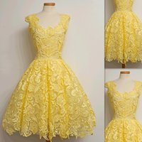 Wholesale Collections Photos - Yellow Cocktail Dresses Spring Collection 2016 Lace Actual Photos Homecoming Prom Party Gowns Custom Made Formal For Women