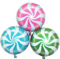 Pinwheel balloon 18inch candy Lollipop foil balloons circle shape Wedding decorations Birthday party supplies Baby shower 30pcs wholesale