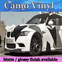volle autoabziehbilder großhandel-Pixel große Camo Vinyl Full Car Wrap Styling mit Air Rase Glanz / Matt schwarz weiß Arctic Camouflage Folie Abziehbilder 1,52 x 30 m / Rolle
