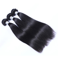 Wholesale 32inch virgin peruvian hair - 32inch Brazilian Human Remy Virgin Hair Straight Hair Weaves Hair Extensions Natural Color 100g bundle Double Wefts 3Bundles lot