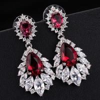 Wholesale Black Pearl Shell Shape - New Style Elegant Chandelier Shape AAA+ Cubic Zirconia Diamond Long Big Crystal Bridal Earrings For Wedding Jewelry