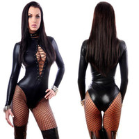 Wholesale Long Latex Jumpsuit - Women's Jumpsuit Black Sexy Leather Dresses Long Sleeve Bodysuits Erotic Leotard Latex Catsuit Costume