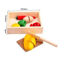 holzspielzeug gemüse großhandel-Großhandel-Holz Küche Gemüse schneiden Kinder Rollenspiel Entwicklung Lernspielzeug für Kinder aus Holz vorgeben