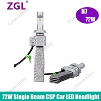 Wholesale Single Led Headlamp - CREE Chips 72W Set H7 Car LED Headlight Bulbs Conversion Kit 8000LM 6500K CSP Single Beam Auto LED Headlamp Driving Light