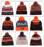 Wholesale Cheap Basketball Beanies - Hot Sale Football Browns Beanies Cheap Pom Beanies High Quality Sports Beanie Hats Brand Knitted Skull Caps all Football Teams Beanies