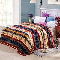 Wholesale Stripe Coral Fleece Blanket - 2016 Sale Home All 180*200cm 120*200cm 150*200cm Direct Selling Flannel Thickened Single double Bed Colorful Stripes Leaves Printed Blanket