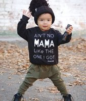 Wholesale Shirt Jumper Set - ins Wholesale Boys Baby Clothing Sets Letters Printed T-shirts Harem Pants 2 Piece Set Spring Autumn Jumpers Toddler Infant Clothes Outfits