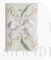 Wholesale Ivory Ribbon Wedding Invitations - Green inner wide Ribbon bow ivory Elegant laser cut wedding invitations cards hollow personalized Engagement invitation card with envelope