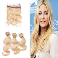 Wholesale Russian Parts - 360 Lace Band Frontal With Blonde #613 Body Wave Hair Bundles Free Part Russian Virgin Hair With 360 Lace Band Frontal 4Pcs Lot