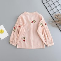 Wholesale Girls Baby Shirts - Cartoon Baby Girls Shirts New Autumn beetle Embroidery Long Sleeve Kids Princess Tops Autumn Children Ruffle Sleeve Blouses