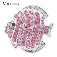 Wholesale Fishing Buttons - NOOSA Ginger Snap Sealife Centre 18mm 4 Colors Fish Crystal Button Jewelry VOCHENG Vn-1152