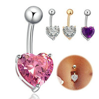 Wholesale Large Belly Button Rings - Wholesale 3 Colors Silver and Gold Plated Navel Bar Large Heart Cubic Zircon Belly Navel Ring Stainless Steel Belly Ring 14G 12PCS