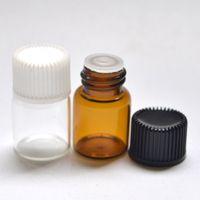 Wholesale Glass Perfume Bottle 2ml - Fast Shipping Perfume Sample Bottle 2ml Glass Clear Bottle with Orifice Reducer Plug Tubes Essential Oil Amber Vials