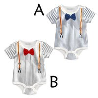 Wholesale Cheap Girl Bow Ties - 2016 Summer Short Sleeve Gentleman Strap Ties And Bows Stripe Baby CraWling Movemen Clothes Size 0 To 18M Cheap Boy Girls Clothe Neonatal