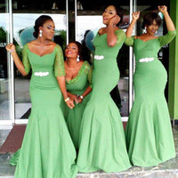 vestidos azuis da dama de honra do laço do aqua venda por atacado-Novo barato verde aqua estilo africano vestidos de dama de honra mangas meia rendas frisado até o chão sereia plus size madrinha de casamento vestidos de festa