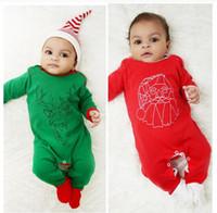 pai natal trajes venda por atacado-0-18 M Baby Christmas Costume Papai Noel imprimir Macacão de outono Inverno Bebê One Piece macacão Crianças Roupas de Pai Natal
