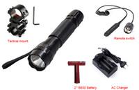 batería led spotlight al por mayor-Mejor precio Linterna táctica 2000 lúmenes C-XM-L T6 LED 501B Caza Antorcha Proyector + Montaje táctico + Interruptor remoto + 18650 Batería + Cargador