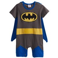 Wholesale Batman Costume Cape - Baby Boys' Batman Funny Costume Party Cosplay Romper Infant Causal Short Sleeve with Cape 100% Cotton