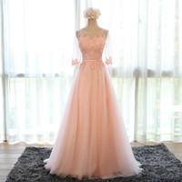 Wholesale Transparent Neck Prom Dress - Evening Dress 2016 New Bride Banquet Sweet Pink Scoop Neck Half Sleeve Transparent Lace Embroidery A-line Long Prom Formal Dress