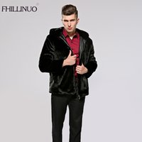 Wholesale Knitted Mink Coat Hood - FHILLINUO Men fur coat with hood imitation fur mink coats long sleeve men clothing overcoat fur outerwear faux jacket plus size