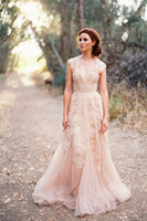 Wholesale Reem Acra Modern - Deep V Cap Sleeves Pink Lace Applique Tulle Sheer Wedding Dresses 2014 Cheap Vintage A Line Reem Acra Latest Blush Wedding Bridal Dress Gown