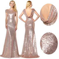 Wholesale Long Bridesmaid Dresses Bling - In Stock Sparkly Rose Gold Sequins Bridesmaid Dresses 2016 Jewel Short Sleeves Maid Of Honor Bling Bling Prom Dress Evening Gowns SD347