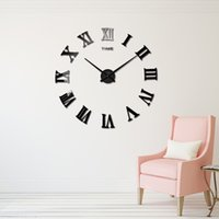 Chiffres romains Expédition Grand Horloge Wall Sticker Fashion Design moderne Quartz Horloges Miroir Horloge murale bricolage Regarder Salon Home Decor Goutte