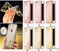 iphone blume bling großhandel-iPhone 6s Bling Crystal Diamond Strass Fall Geheimen Blumengarten Galvanik TPU Rückseitige Abdeckung Ultra Thin Protector für iPhone 6 6S Plus