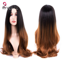 Wholesale Curly Cheap Tone Wigs - Ombre Celebrity Curly Wig hair Cheap cosplay Wigs brwon Two Tone Female Elegant Wavy Synthetic Wigs for African American Women