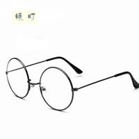 Wholesale Pure Titanium Eyeglasses - Wholesale- New Fashion wizard 100% pure Titanium Eyeglasses Frames Men women round Eyeglasses Gold Glasses Frames 5 Color 032