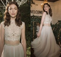Wholesale Bridal Gowns Vintage Ankle Length - Eisen Stein 2016 Two Pieces Beach Arabic Wedding Dresses Ankle Length Lace Beaded A-line Bridal Dresses Vintage Sexy Wedding Gowns