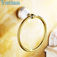Wholesale towel ring bathroom accessories - Solid Brass Gold Finished Round Towel Ring,ceramic base Bathroom Accessories Towel Holder,Towel rack YT-12791