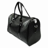 Wholesale Wholesale Leather Luggage - 2017 Fashion Lattice Black Leather Travel Bags for Women Waterproof Luggage Bags Mens Duffle Bag bolso viaje sac de voyage