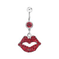 Wholesale piercing lips for sale - Group buy D0047 color lip style piercing body jewelry red color Belly Button Ring Fixing BELLY BAR JFC