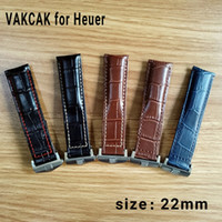 Wholesale leather replacement straps - New Fahion 22mm Mens crocodile grain genuine leather Watchbands Silver Strap Buckle Clasp Replacement For tag heuer