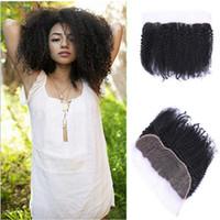 saçlı ön kapak toptan satış-8A Brezilyalı Afro Kinky Kıvırcık Dantel Frontal Kapatma Parçası Ücretsiz Orta 3 Bölüm 13X4 Virgin İnsan Saç Tam Dantel Frontal Ile Bebek saç