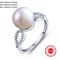 Wholesale Natural Elegant Fresh Water Pearl Finger Rings with Rhinestone Infinity Fashion Jewelry Sterling Silver Rings DL22700A