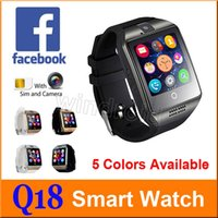 Wholesale Cheapest Smart Watches - Cheapest Q18 Smart Watch Bluetooth Smart watches For Android Phone with Camera Q18 Support TF Card NFC Connection with Retail Package 50pcs