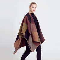 Wholesale New Women Color Matching Imitation Wool Double side Scarf Cloak Oversized Cashmere Scarf Blanket Pashmina Coat