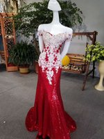 Wholesale Modal Photos - off Shoulder Red Mermaid Prom Dresses Cap Sleeve Heavy Beading Prom Gowns Luxury Graduation Party Dresses robe de bal longue Pageant Gowns