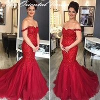 Wholesale Nude Sparkly Dresses - Dark Red Tulle Arabic Mermaid Evening Dress 2017 Sexy Off the shoulder Backless Prom Dresses Sparkly Sequins Long Party Gowns Robe de soiree