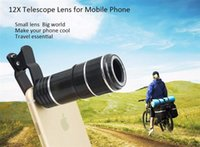 Wholesale Mobile Phones Telescope Camera 12x - Free Shipping Universal 12X Zoom Optical Clip Telephoto Telescope Camera Lens For Mobile Phone Lens Camera Zoom