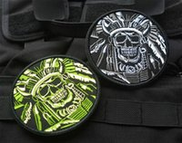 Wholesale High Death - High quality Death Skull War Chief Indian USA Army Morale Military Tactical SWAT 3D Embroidered patches military armband badge VP-40