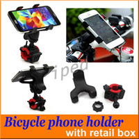 Wholesale Cheapest Universal Gps Holder - Universal Bicycle Motorcycle Phone GPS Mount Holder With Dual Clip 360 Degree Rotate Adjustable Cradle Handlebar for iPhone Cheapest 200pcs