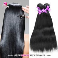 Wholesale Double Jet - 3 Bundles Jet-black Straight Hair Cheap Peruvian Straight Human Hair Peruvian Virgin Remy Hair Black Double Weft