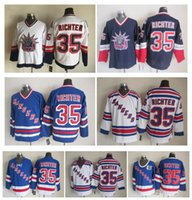 Wholesale Liberty Vintage - Top Quality ! New York Rangers Ice Hockey Jerseys 35 Mike Richter 1998 Statue Of Liberty Throwback Vintage CCM Authentic Stitched Jerseys