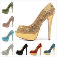 New Womens Sexy Rhinestones Spikes 14cm Platform High Heels, Ladies Crystal Wedding Pumps Dress Shoes 35-42 Livraison gratuite