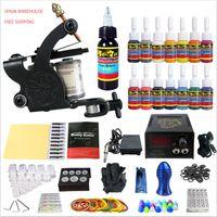 Wholesale True Black Tattoos - Solong Tattoo® Starter Tattoo Kit 1 Machine Gun 14 Inks 1 Bottle 30ml True Black Pigment Power Supply Foot Pedal TK102-ES